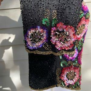 Laurence Kazar Tops - Laurence Kazar Womens Multicolor Sequin Beaded